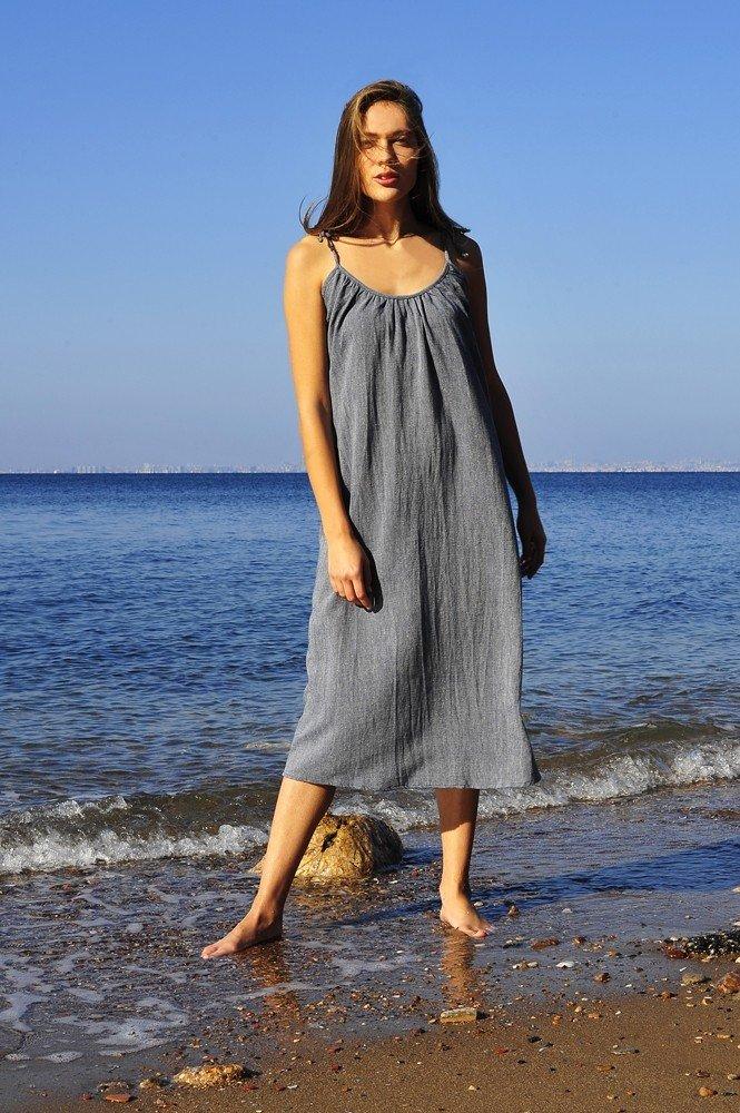 Marine Sile Slip Dress