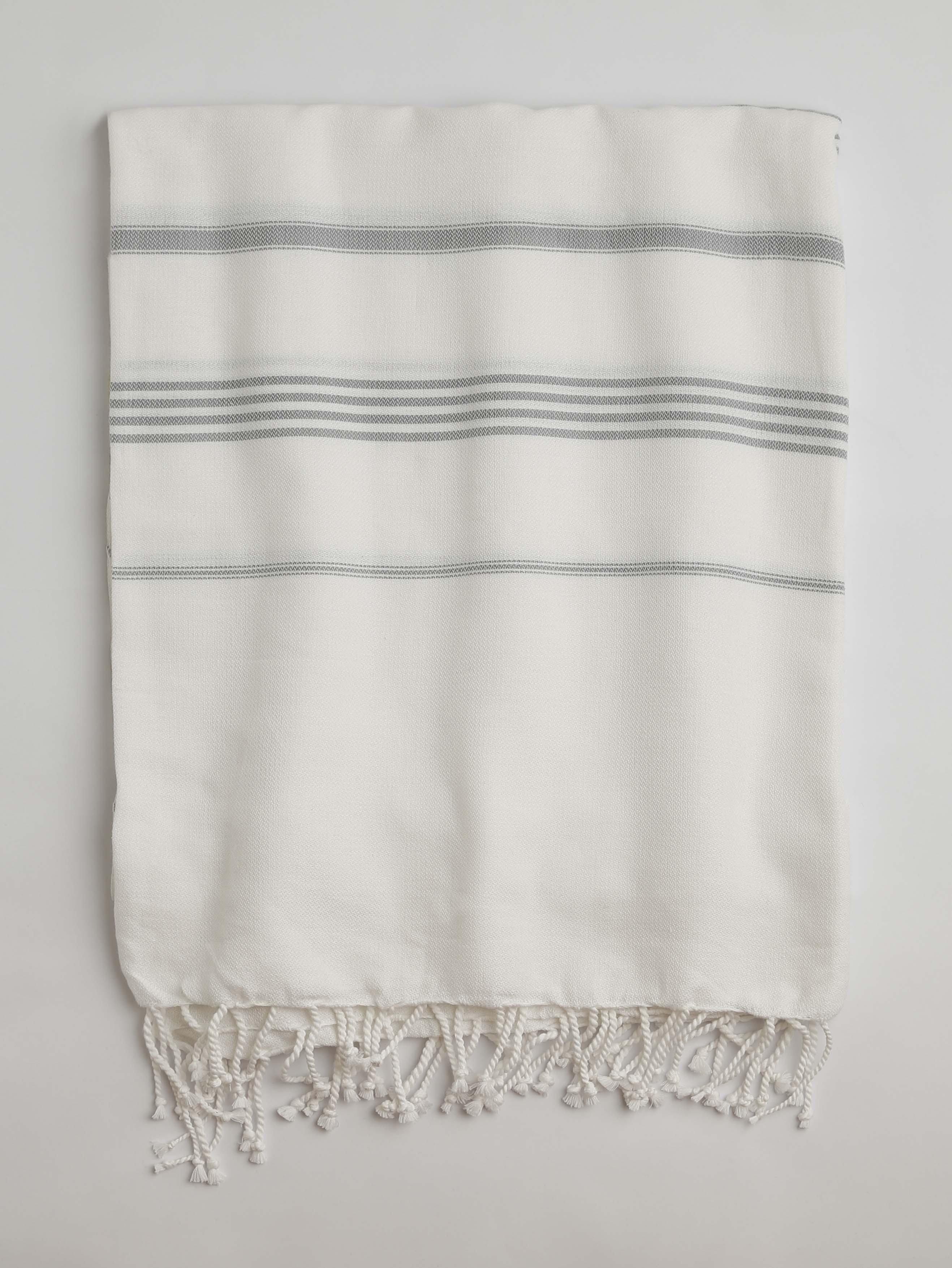 White-Grey Classic Large Turkish Towel