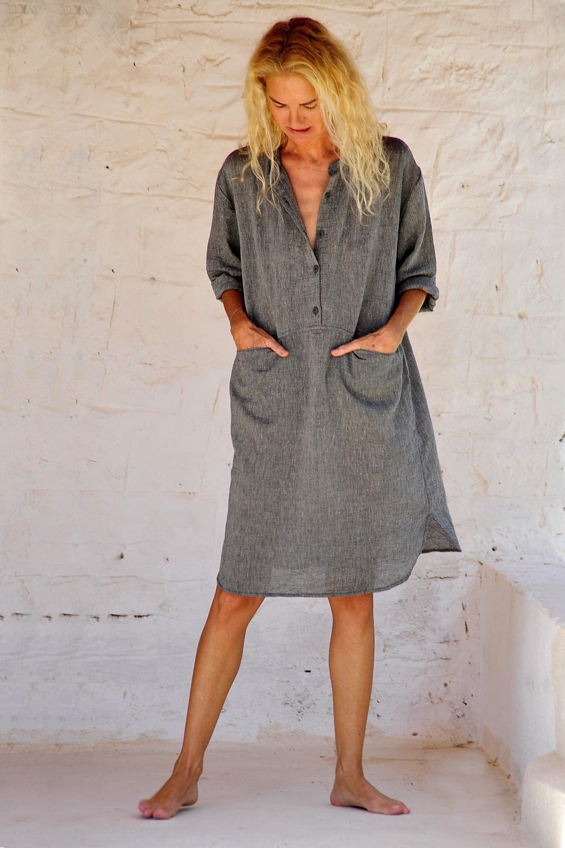 Charcoal Sile Tunic Dress