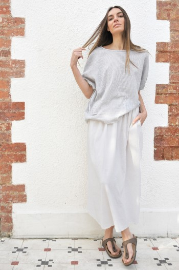 Grey Striped SILE SHORT SLEEVE TOP