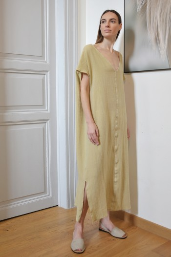 Olive Sile V Neck Caftan Dress