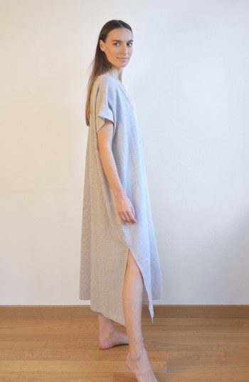 Grey Striped Sile Basic Dress