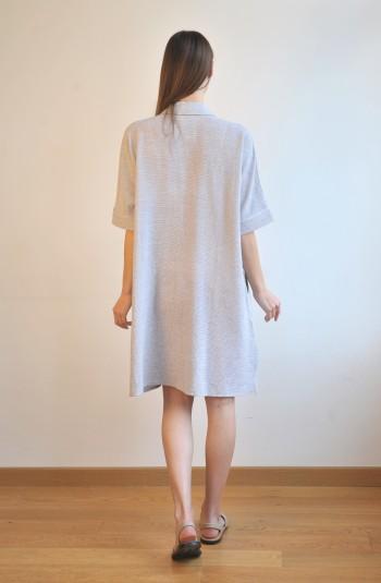 Grey Striped SILE MINI SHIRT DRESS