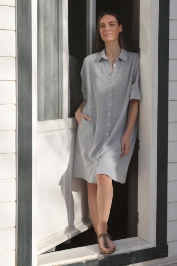 Marine Striped SILE MINI SHIRT DRESS