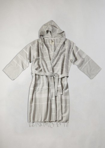 Light Grey-White Classic Hooded Bathrobe