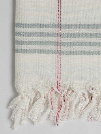 Grey Green Organic Cotton Turkish Towel Long