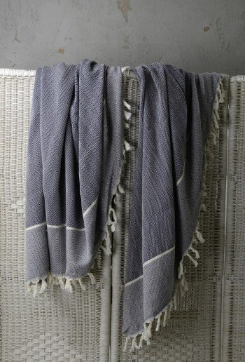 Indigo Herringbone Blanket/Throw