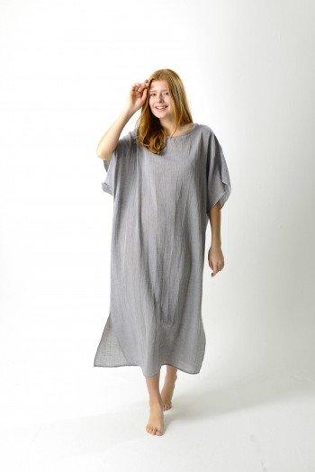 Grey Sile Caftan Dress