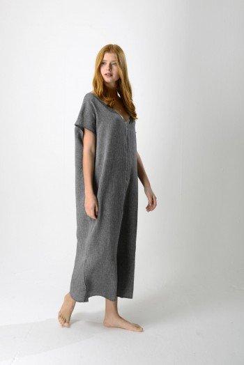 Charcoal Sile V Neck Caftan Dress