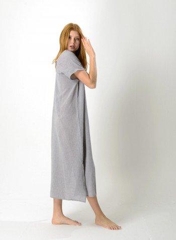 Grey Sile V Neck Caftan Dress