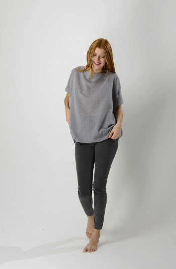 Grey Sile Boat Neck Top