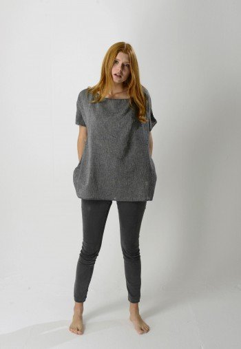 Charcoal Sile Boat Neck Top