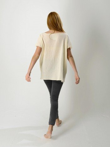 Natural Sile Boat Neck Top