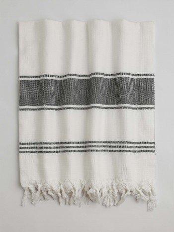 White-Dark Grey Assos Turkish Towel