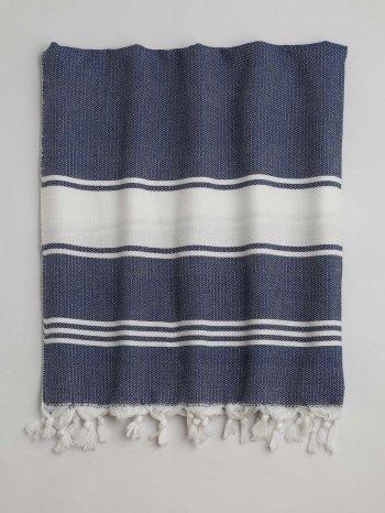 Marine-White Assos Turkish Towel