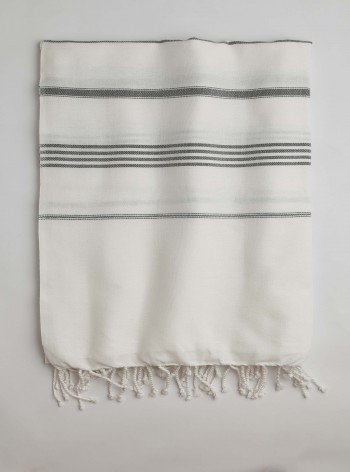 White-Dark Grey Classic Large Turkish Towel