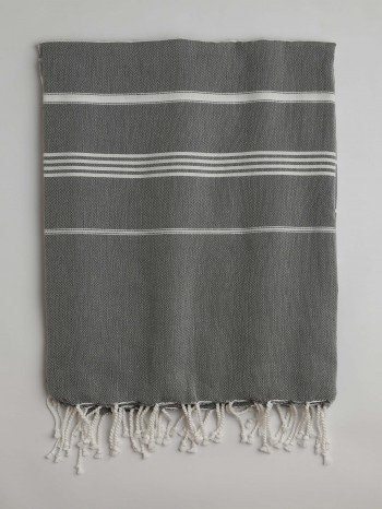 Dark Grey-White Classic Large Turkish Towel