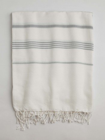 White-Grey Classic Large Turkish Towel