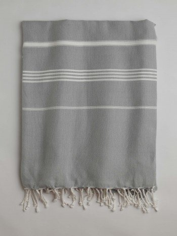 Grey-White Classic Large Turkish Towel