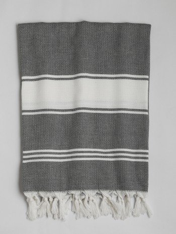 Dark Grey-White Assos Turkish Towel