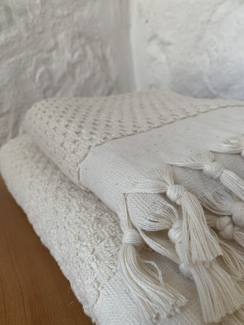 Natural Dotted Terry Bath Towel