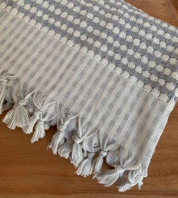 Light Grey Dotted Terry Bath Towel
