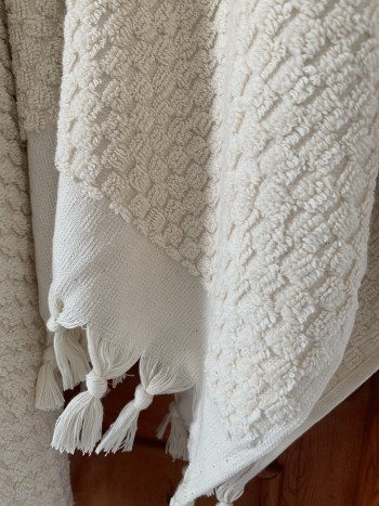 Natural Dotted Terry Hand Towel