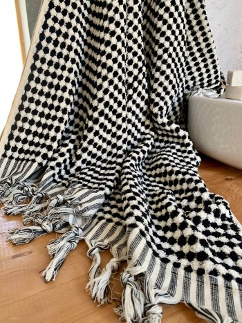 Black-White Dotted Terry Bath Towel