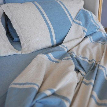 Blue Striped Linen Bedding Set