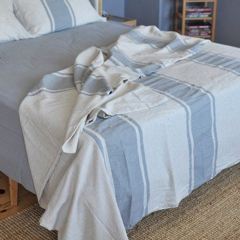 Grey Striped Linen Bedding Set