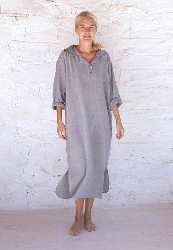 Grey Sile Hooded Caftan