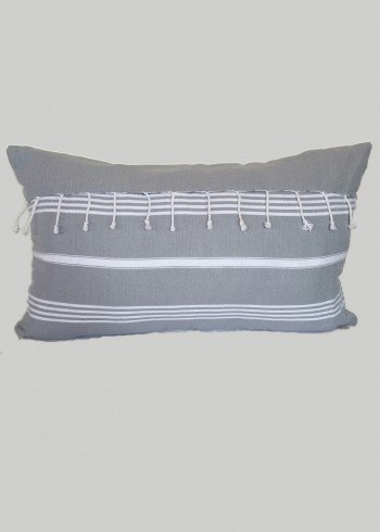 Grey Fringe Pillow Cover