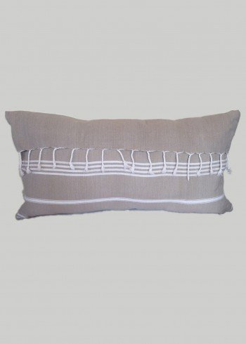 Grey-Beige Fringe Pillow Cover