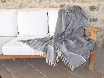 Dark Grey Herringbone Blanket/Throw