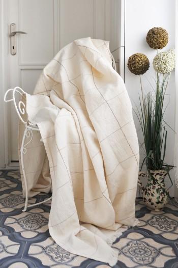 Cream Linen Blanket