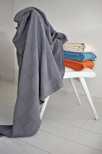 Dark Grey Linen Blanket