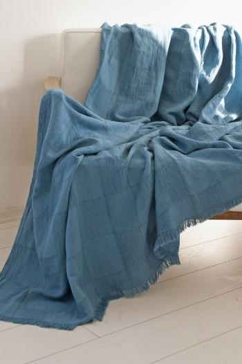 Navy Linen Blanket