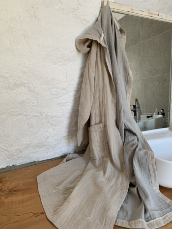 Muslin Hooded Bathrobe
