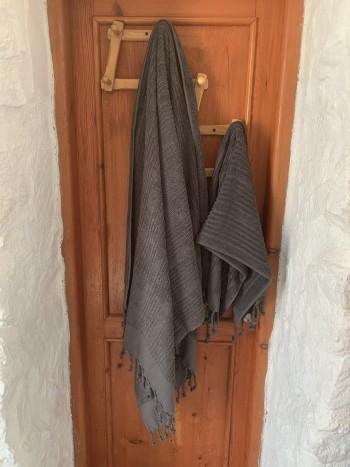 Dark Grey Ottoman Terry Bath Towel