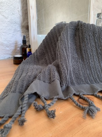 Dark Grey Ottoman Terry Hand Towel