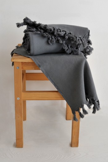 Pamukkale Bath Towel - Dark Grey