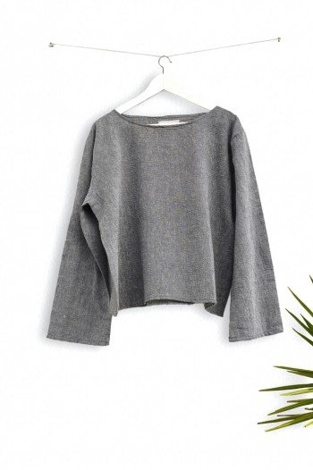 Charcoal Sile Long Sleeve Top
