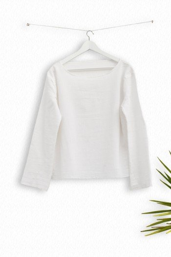 White Sile Long Sleeve Top