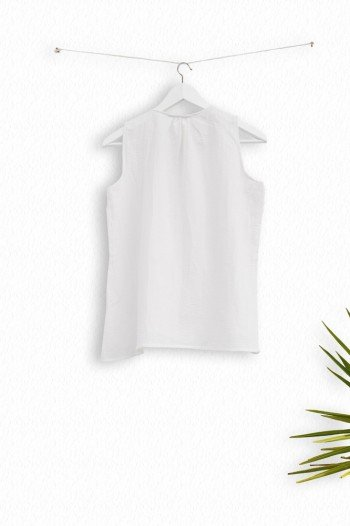 White Sile Pleat Top