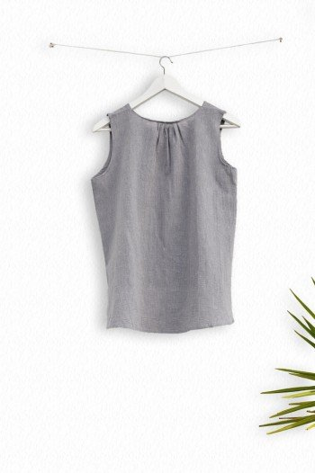 Grey Sile Pleat Top