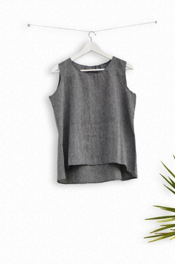 Charcoal Sile Pleat Top
