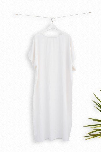 White Sile Caftan Dress