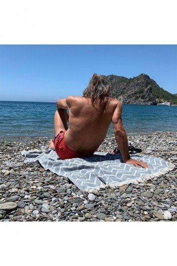 Dark Grey Waves Beach Towel