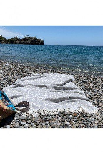 Grey Waves Beach Towel