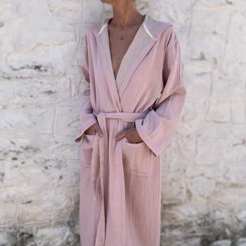 Muslin Hooded Robe Blush-Taupe
